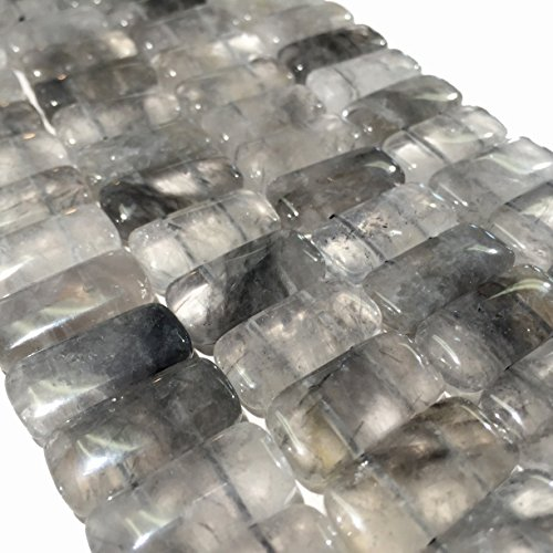 [AfricaGemsUSA] (Double Drilled) African Cloudy Quartz 10x20mm Rectangle Beads. Approx. - Beads Rectangle Quartz