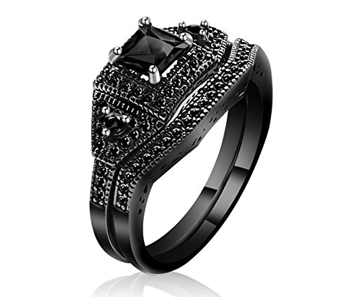 Lucky Set Ring - Lucky Dora Black Gold Plated Stackable Halo Rings Set with Princess Cut Black Cubic Zirconia Wedding Bridal, Size 5