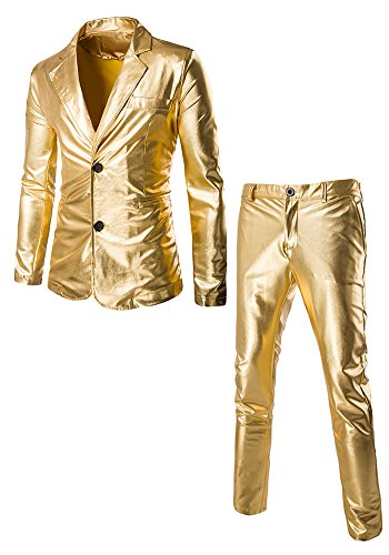 JKQA Men's Metallic Slim Fit Casual Blazer Jacket 2 Piece Outfit Suit (XL, Gold) (Holo 2 Costumes)