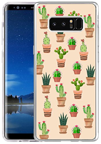 Note 8 Case Cactus Design,Hungo Soft TPU Silicone Protective Cover Compatible with Samsung Galaxy Note 8,Cute Kawaii Cactus Print