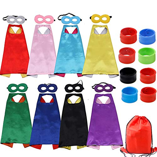 RioRand Kids Cartoon Dress Up Costumes Double-Sided Satin Capes with Felt Masks and Slap Bracelets 8pcs ()
