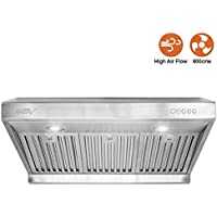 BV Stainless Steel 30 Under Cabinet High Airflow (800 CFM) Ducted Range Hood with LED Lights