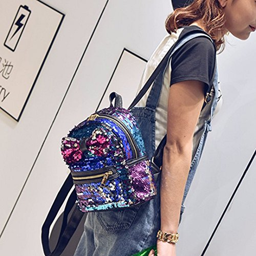 Handbag Mini Bags Meliya Backpack Shoulder Glitter Leather Sweet Bowknot Blue Bling Girls Sequins ffqwF5P