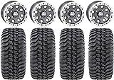 Bundle - 9 Items: STI HD Beadlock 14'' Wheels 28'' Regulator Tires [4x156 Bolt Pattern 12mmx1.5 Lug Kit]