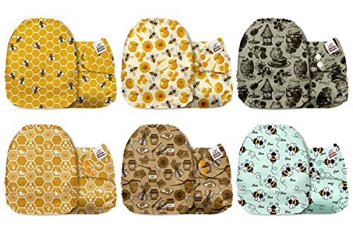 Mama Koala One Size Baby Washable Reusable Pocket Cloth Diapers, 6 Pack with 6 One Size Microfiber Inserts (Busy Bees)