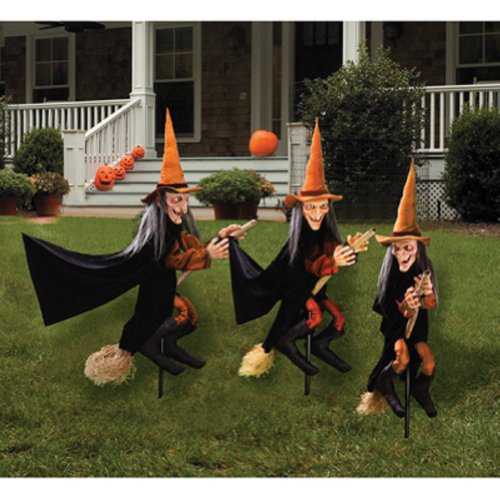 [3 Halloween Lawn Scary Witches Props Decoration Outdoor] (Scary Halloween Witches)