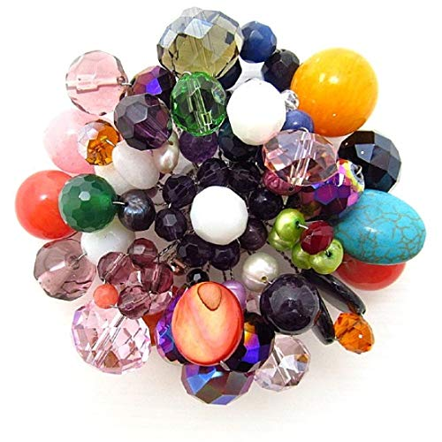 - AeraVida Multicolor Fusion Mix Stone Floral Pin or Brooch