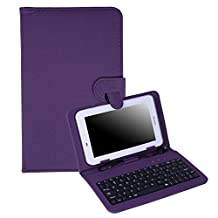 """HDE Hard Leather Folding Folio Case for 7"""" Tablets with Micro USB / USB-C Keyboard Slim Folding Stand Cover for Android Tablets (Purple)"""