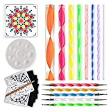 Mandala Dotting Tools for Painting Rocks - Plus Stencil, White Pencil, Paint Tray, Pattern