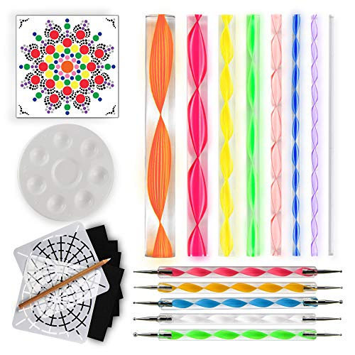 (Mandala Dotting Tools for Painting Rocks - Plus Stencil, White Pencil, Paint Tray, Pattern)