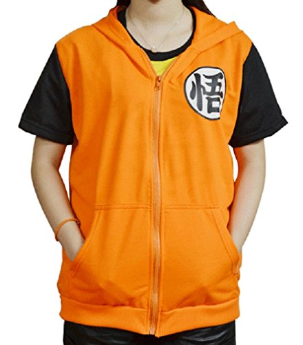 [CNS DragonBall GOKU style [ Hooded Costume ] Japanese Anime (XL, GO ShortSleeve)] (Super Saiyan Goku Wig)
