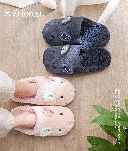 CWAIXXZZ pantofole morbide Autunno Inverno uomini e donne matura Home Home pantofole di cotone felpato indoor morbida antiscivolo serie L (per 39~41), Navy