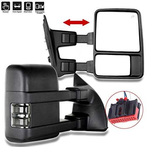 SCITOO Towing Mirrors fit 2008-2016 Ford F250 F350 F450 F550 Super Duty Black Manual Led Turn Signal Lights Pickup Pair ()