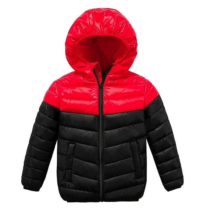 Xmiral Cazadora Acolchado Abrigo Pluma para Niños Invierno Chaqueta Plumón con Capucha Desmontable(Rojo,