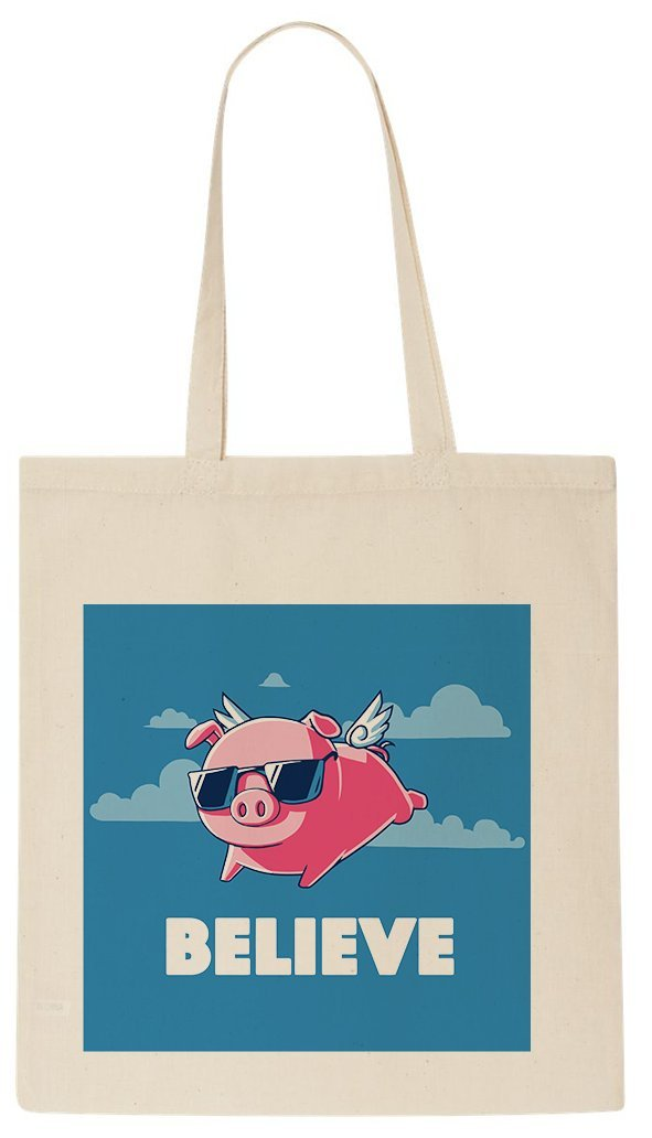 Do You Believe In Flying Pigs  Funny Tote Shopping Bag  Amazon.co.uk   Luggage 1b697362cddeb