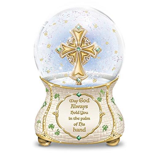 Irish Blessings Musical Glitter Globe with Celtic Cross:by The Bradford Exchange Irish Home Blessing Cross