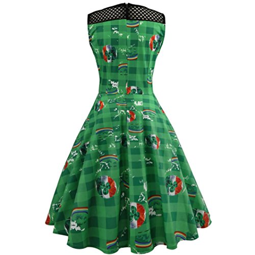 Vintage Rockabilly Cocktail Fami donna Party Swing 2 1950s Retro Dress Vestiti Vestito da Donna Verde zZq0pp