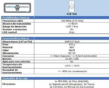 Sensor / Detector de Movimiento (PIR) inalámbrico: Amazon.es ...