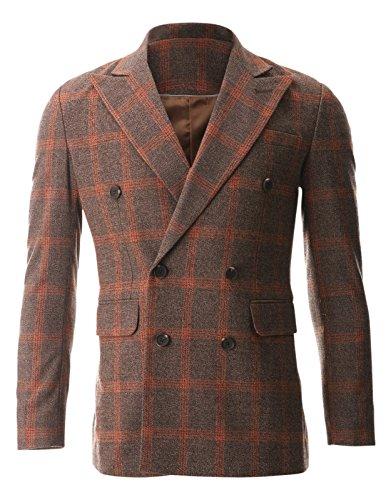 FLATSEVEN Mens Casual Orange Plaid Check Wool Sport Coat ...