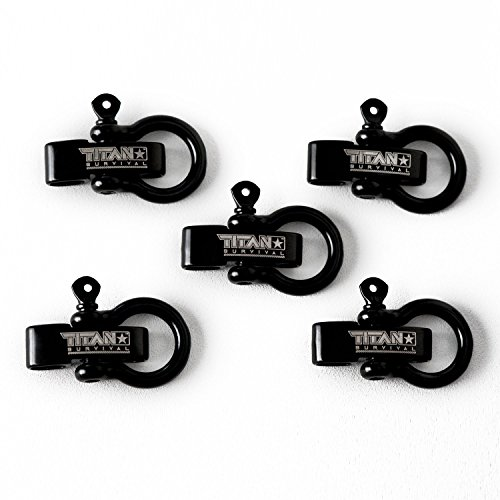 Titan Bow Shackles for Paracord Bracelets (5-Pack) | Premium Stainless Steel Metal Clasps Holds up to 1650 lbs in an Emergency. by Titan Paracord