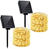Mpow Solar String Lights, 72ft 200LED Outdoor String Lights, 8 Modes Waterproof Decorative Fairy String Lights for Patio, Lawn, Garden, Party, Wedding, Christmas (Warm White) 2 Pack