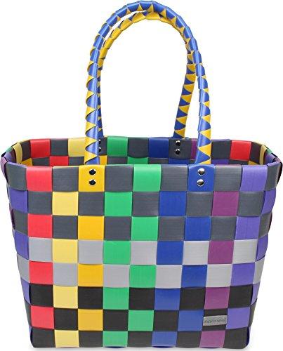 Einkaufskorb Shopper geflochten aus Kunststoff - robuster Strandkorb aus wasserabweisendem Material Classic / Rainbow