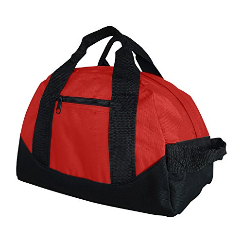 """iEquip Duffle Bag, Gym, Travel Bag Two Tone (Red - small (12"""" x 8"""" x 8""""))"""