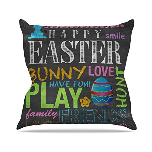 26 by 26 Kess InHouse Snap Studio Happy Easter Text Pastels Typography Throw Pillow