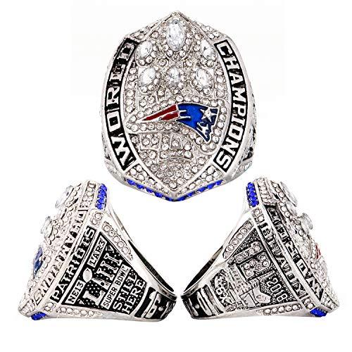 MVPRING New England Patriots Super Bowl LIII Ring Size 6-12, NFL 2018-2019 Championship Replica Rings (10, Patriots) (Best Replica Championship Rings)