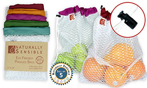 Free Eco Friendly Bags (The Original Eco Friendly See Through Washable and Reusable Produce Bags - Soft Premium Lightweight Nylon Mesh Large - 12x14in - Set of 5 (Red, Yellow, Green, Blue, Purple) | By Naturally Sensible)