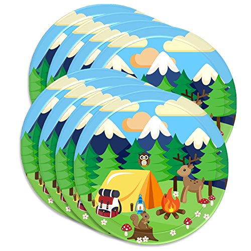 """Camping Adventure Birthday Party Supplies Large 9"""" Plates 80pcs Value Pack"""