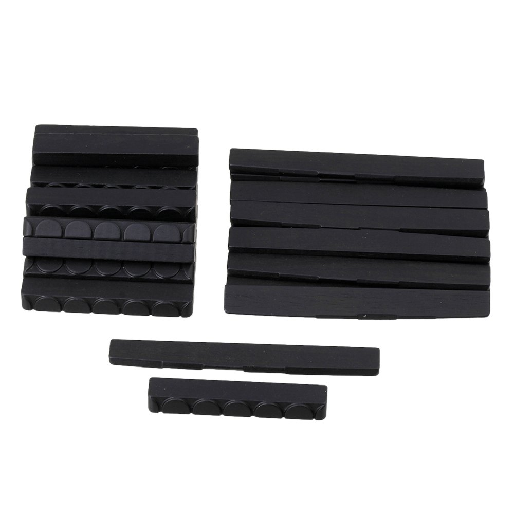 BQLZR Black Ebony Wood Guitar 6 String Saddle & Nut Replacement Set for Classical Guitar Pack of 50