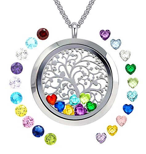 Pendant 3 Stone Birthstone - YOUFENG Floating Living Memory Locket Pendant Necklace Family Tree of Life Necklace All Birthstone Charms Include (Polished Family Tree Locket)