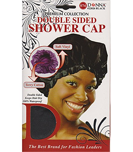 (PACK OF 12) DONNA PREMIUM COLLECTION DOUBLE SIDED SHOWER CAP #22026 BLACK ()