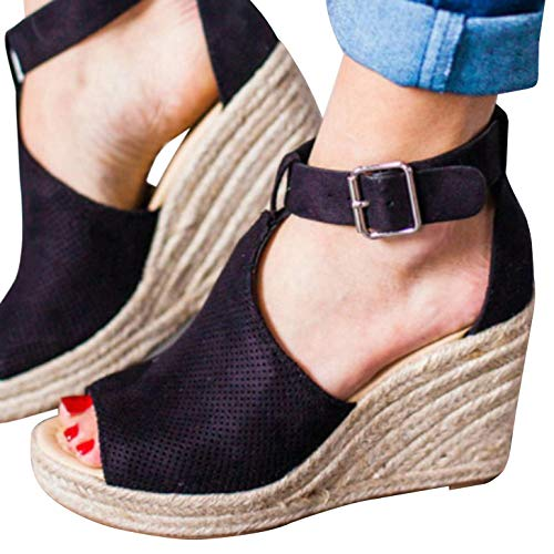 (Syktkmx Womens Platform Wedge Sandals Suede Peep-Toe Strap Buckle Mid Heel Espadrille Shoes D-Black)