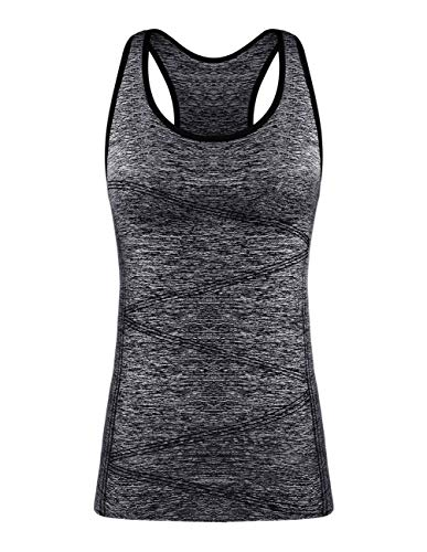 - DISBEST Yoga Tank Tops for Women, Stretchy Sleeveless Shirt Workout Running Tops with Removable Bra Pads Black M