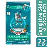 Purina ONE Sensitive Stomach - Sensitive Skin - Natural Dry Cat Food - Sensitive Skin & Stomach Formula - 22 lb. Bag