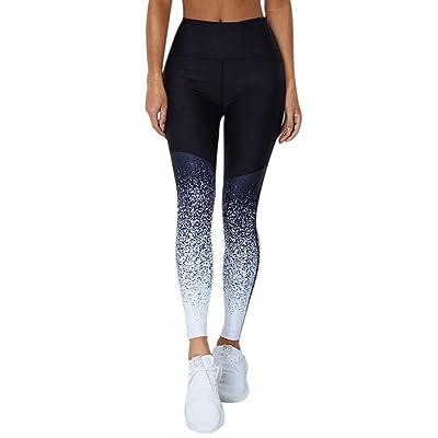 Bornbayb Women Gradient Color Patchwork Printing Legging Fitness Elastic Trousers Pants Sportswear Yoga Running
