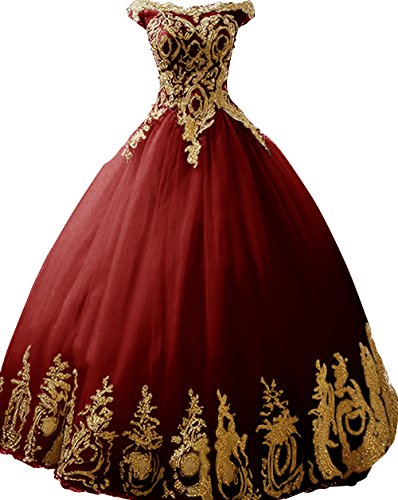 BessDress Gold Lace Appplique Quinceanera Dresses Strapless Prom Ball Gown ()