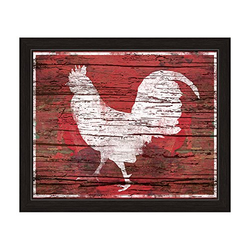 Red Distressed Wood Textured White Rooster Silhouette Framed Canvas Art Print Wall Décor