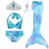 5Pcs Girls Swimsuit Mermaid Tails for Swimming Princess Bikini Bathing Suit Set (no Monofin) for 4T 6T 8T 10T 12T (Sky Blue,6T)