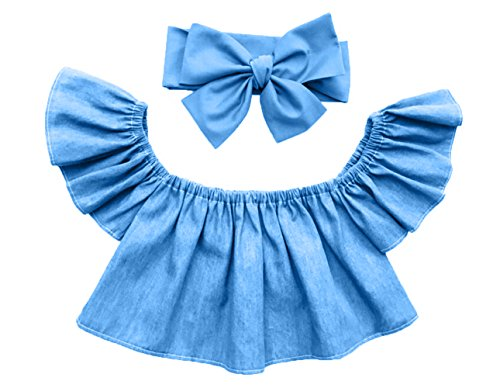 (Greatgorgeous Cute Baby Girls Solid Off Shoulder Elastic Fashion Blouse + Bow Headband 2pcs (80cm (1-2T),)
