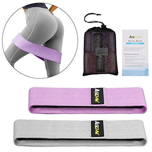 Asgym Booty Resistance Bands for Legs and Butt, Non-Slip Non-Roll Thick Elastic Band Exercise, Heavy Fabric Fitness Loop Workout for Women Men, Activate Glutes | Thighs Hip Band Set of 2