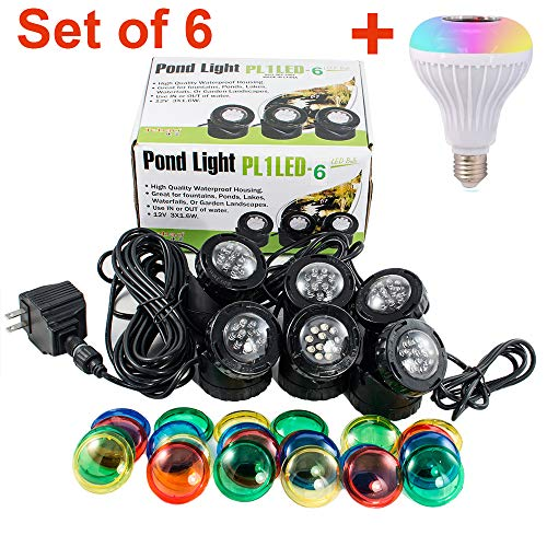 Set of 6 Jebao 12-LED Submersible Underwater Pool Pond Fountain Lights PL1LED USA Seller