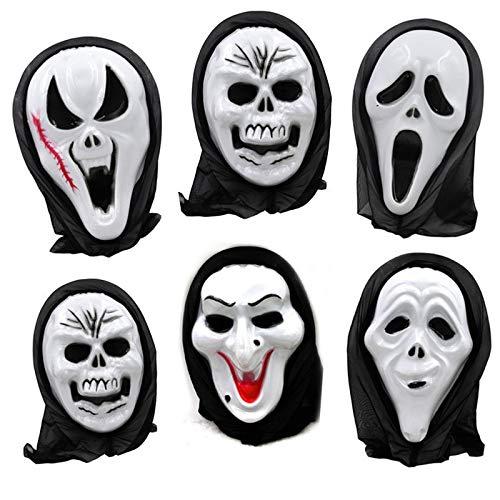 Party Masks - 1pc Death Final Destination Scream Skull Ghost Mask Fake Face Multi Shape Scary Halloween Cosplay - Dinosaur Lace Masquerade Wear Pack Bulk Kids Women Masks White Headbands Glasses ()