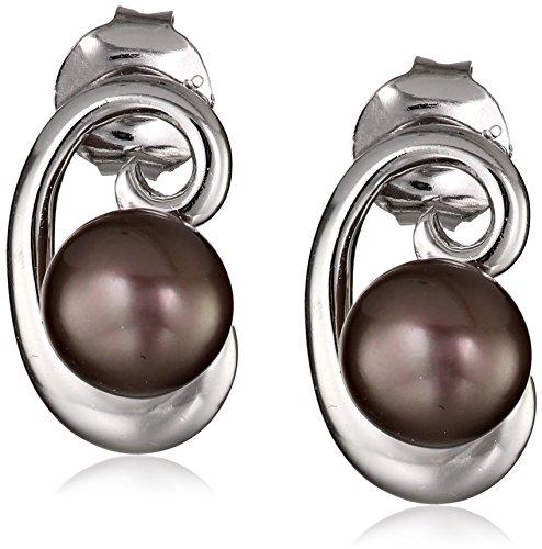 Sterling Silver 6-7mm Enhanced Black Button Freshwater Cultured Pearl Swirl Earrings (Freshwater Pearl Swirl)