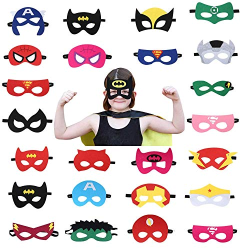 USA WOLF Superheroes Party Masks Boys & Girls Birthday Party Favors & Party Supplies, Perfect for Children Aged 3+ Halloween Super Hero Mask, Cosplay Party Felt Masks (24 Pcs)