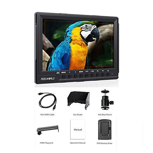 Feelworld FW760 7 Inch Full HD 1920x1200 IPS Screen 4K HDMI Monitor Video Camera Field Monitor with Histogram Focus Assist HDMI AV Hot Shoe Mount for DSLR Cameras Canon Nikon Sony
