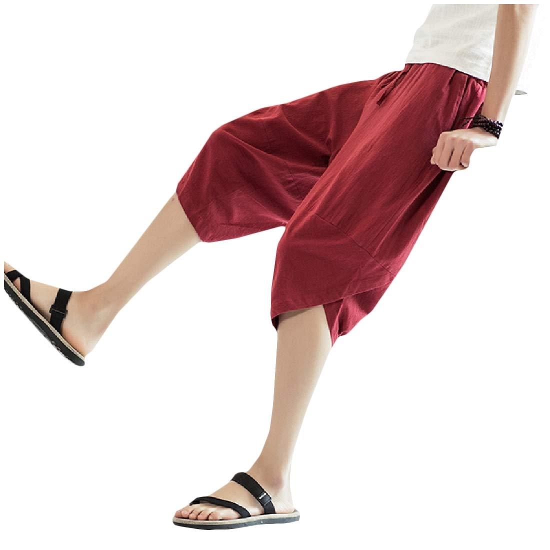 Winwinus Mens Harem Pants Plus Size Pockets Chinese Style Comfy Casual Pants
