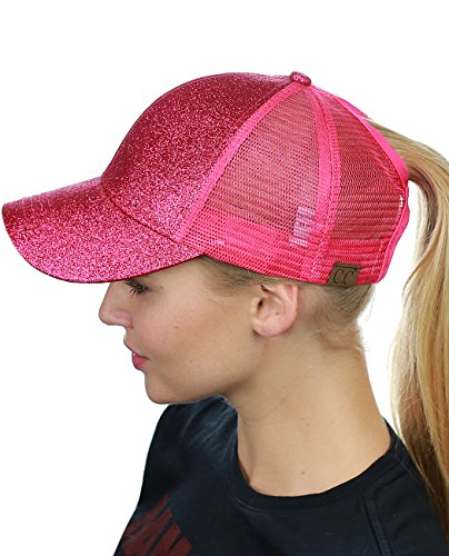 - C.C Ponycap Messy High Bun Ponytail Adjustable Glitter Mesh Trucker Baseball Cap, Hot Pink